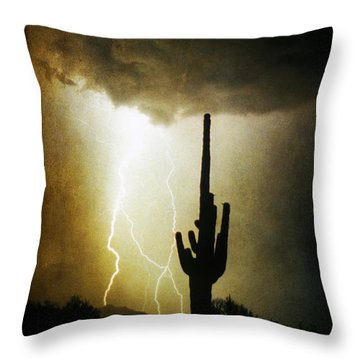 Giant Saguaro Lightning Spiral Fine Art Photography Print Throw Pillow by James BO  Insogna