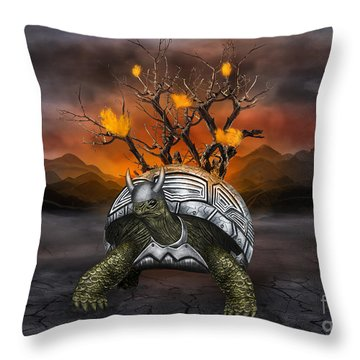 Giant Turtle Warrior In The Old Metal Armor... Throw Pillow