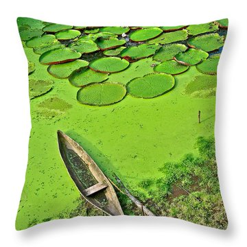 Giant Water Lilies And A Dugout Canoe In Amazon Jungle-peru Throw Pillow