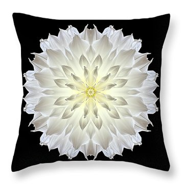 Throw Pillow featuring the photograph Giant White Dahlia Flower Mandala by David J Bookbinder