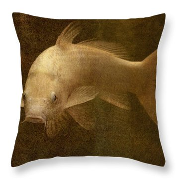 Giant White Koi Throw Pillow by Jean Moore
