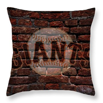 Giants Baseball Graffiti On Brick  Throw Pillow