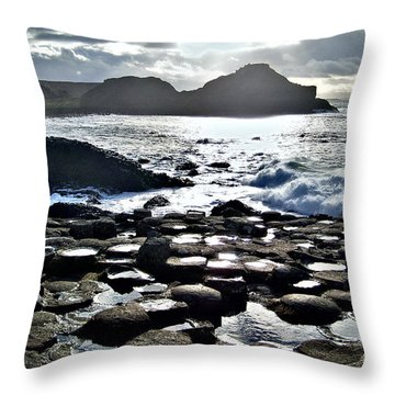 Giant's Causeway Sunset Throw Pillow by Nina Ficur Feenan