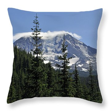 Gifford Pinchot National Forest And Mt. Adams Throw Pillow by Tikvah's Hope