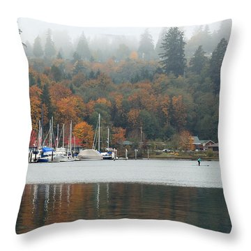 Gig Harbor In The Fog Throw Pillow