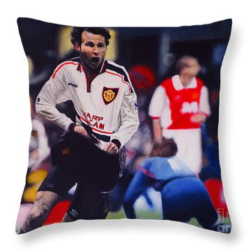 Giggs Goal V Arsenal Oil On Canvas Throw Pillow