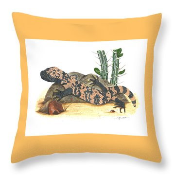 Gila Monster Throw Pillow by Cindy Hitchcock
