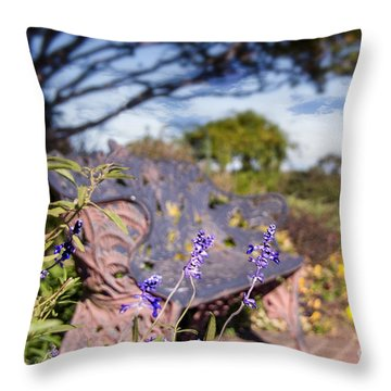 Gilcrease House Garden Flower Throw Pillow by Tamyra Ayles