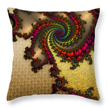 Gilded Fractal 10  Throw Pillow