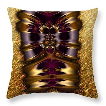 Gilded Fractal 11  Throw Pillow