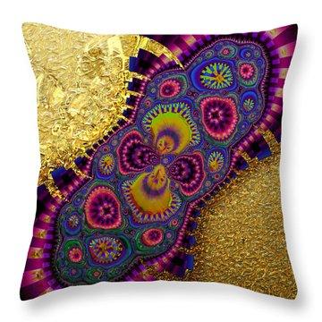 Gilded Fractal 3  Throw Pillow