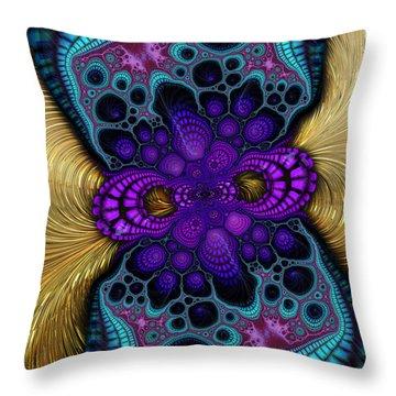 Gilded Fractal 8  Throw Pillow