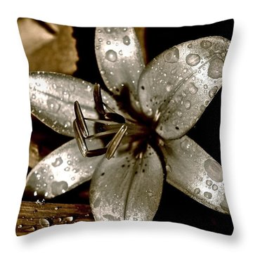 Throw Pillow featuring the photograph Gilded  Lilies 2 by Linda Bianic