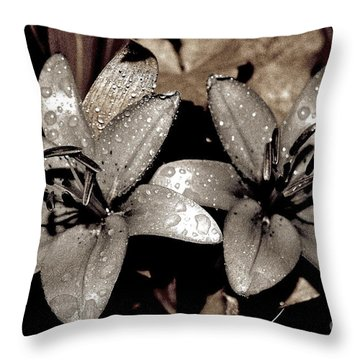 Throw Pillow featuring the photograph Gilded Lilies by Linda Bianic
