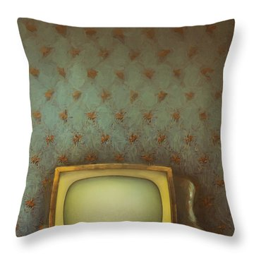 Throw Pillow featuring the photograph Gilded Ornate Frame On Old Wallpaper/digital Painting by Sandra Cunningham
