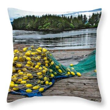 Gill Net Throw Pillow by Robert Bales