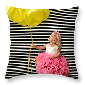Gillian With Yellow Balloons Throw Pillow