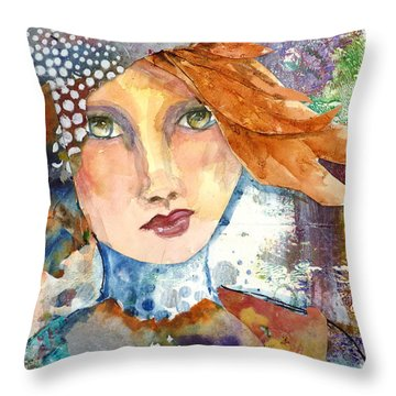 Throw Pillow featuring the mixed media Ginger Girl by P Maure Bausch