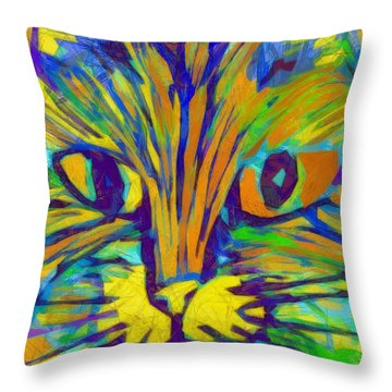 Ginger Kitty Throw Pillow by Michelle Calkins