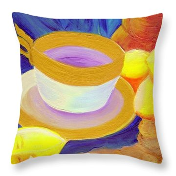 Ginger Lemon Tea By Jrr Throw Pillow by First Star Art