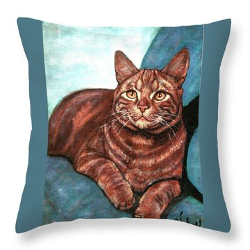 Ginger Tabby Throw Pillow by VLee Watson