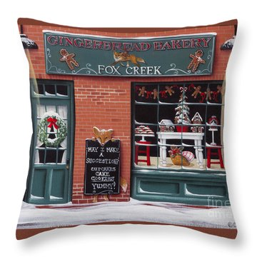 Gingerbread Bakery At Fox Creek Throw Pillow by Catherine Holman