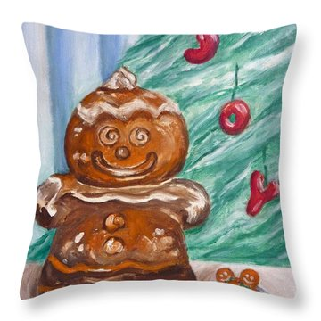 Gingerbread Cookies Throw Pillow by Victoria Lakes