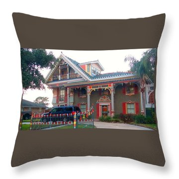 Gingerbread House - Metairie La Throw Pillow