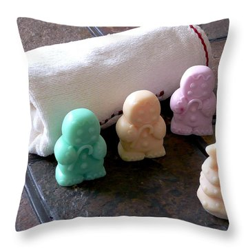Gingerbread Men Soap Throw Pillow by Anastasiya Malakhova