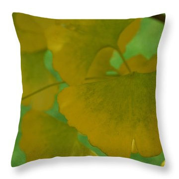 Ginkgo Leaves Abstract Throw Pillow