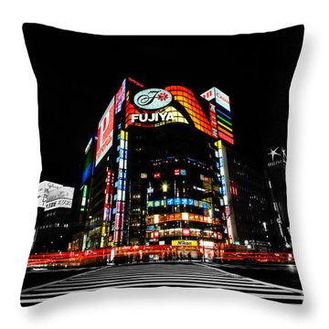 Ginza At Night Throw Pillow