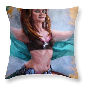 Gipsy Belly Dancer Throw Pillow