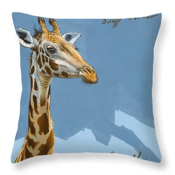 Giraffe Throw Pillow by Aaron Blaise