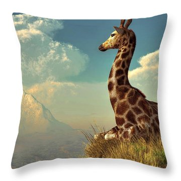 Giraffe And Distant Mountain Throw Pillow