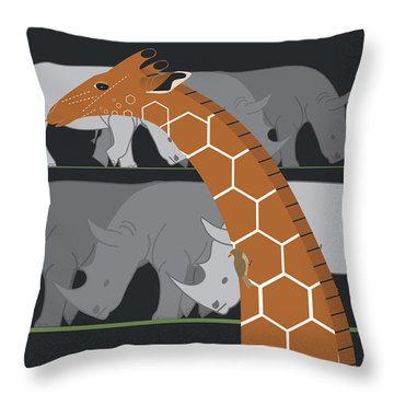 Giraffe And Rhinos Throw Pillow