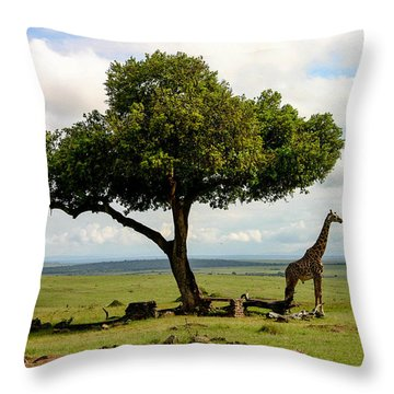 Giraffe And The Lonely Tree  Throw Pillow