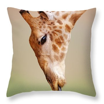Giraffe Eating Close-up Throw Pillow