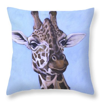 Throw Pillow featuring the painting Giraffe Eye To Eye by Penny Birch-Williams