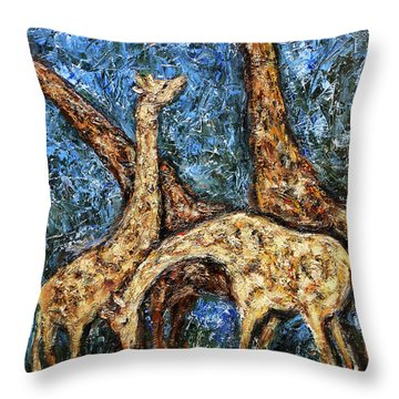 Throw Pillow featuring the painting Giraffe Family by Xueling Zou