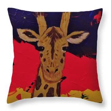 Giraffe In Prime 2 Throw Pillow