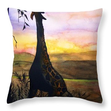 Giraffe Throw Pillow by Laneea Tolley