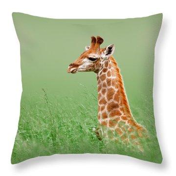 Giraffe Lying In Grass Throw Pillow by Johan Swanepoel