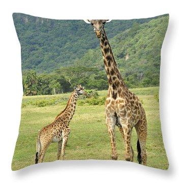 Giraffe Mother And Calftanzania Throw Pillow