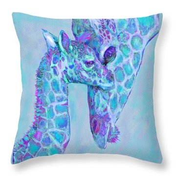 Throw Pillow featuring the digital art Giraffe Shades  Purple And Aqua by Jane Schnetlage
