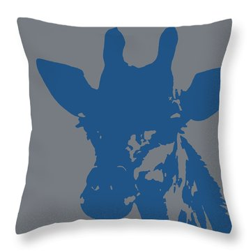 Giraffe Silhouette Grey Blue Throw Pillow