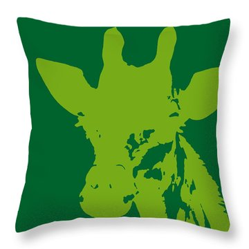 Giraffe Silhouette Lime Green Throw Pillow