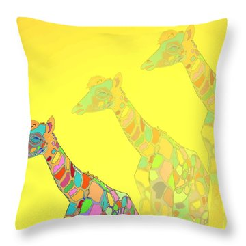Giraffe X 3 - Yellow - The Card Throw Pillow by Joyce Dickens