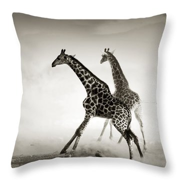 Giraffes Fleeing Throw Pillow