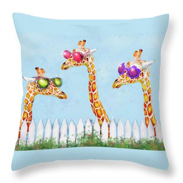 Giraffes In Sunglasses Throw Pillow by Jane Schnetlage