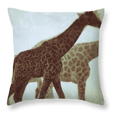 Throw Pillow featuring the photograph Giraffes In The Mist by Nick  Biemans